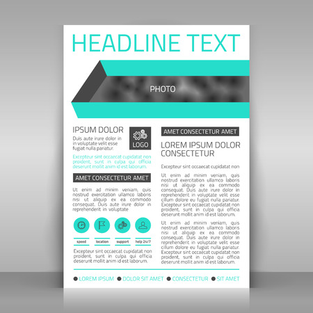article marketing: Paper with place for picture. business template.