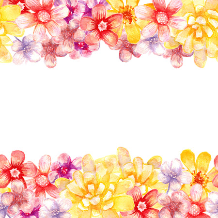 Watercolor Flowers Borders Seamless Artistic Borders For Wedding