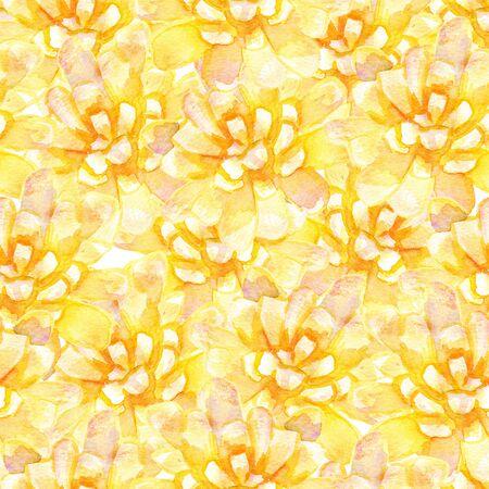 Acquerello floreale seamless. sfondo artistico con fiori gialli.