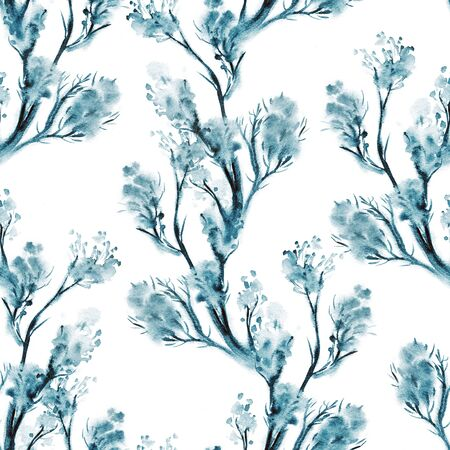 wallpape: Artistic background with flowers. Watercolor floral seamless pattern. Spring wallpape in blue. Stock Photo