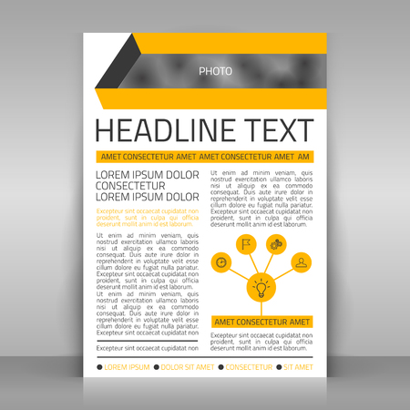article marketing: Business flyer vector template with 5 icons.