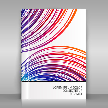 marca libros: White brochure on gray background. Colorful striped design for brochure, business flyer, poster, catalog, brand book. Vector template.