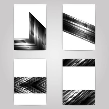 Flyer set with monochrome geometric design. 4 paper sheets on gray background. Poster set. Vector illustration. Çizim