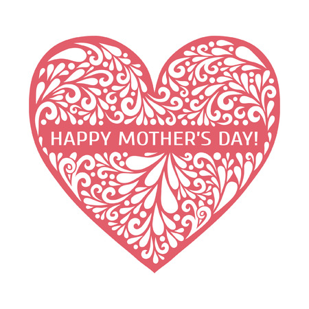 Happy Mothers Day! Vector heart made from swirl shapes. Love symbol. Decorative illustration for greeting card, flyer, poster, banner. Çizim