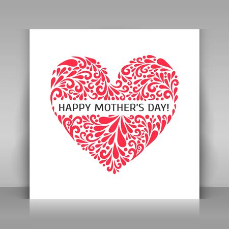 Happy Mothers Day greeting card. Heart made from swirl shapes. Love symbol. Vector illustration. Çizim
