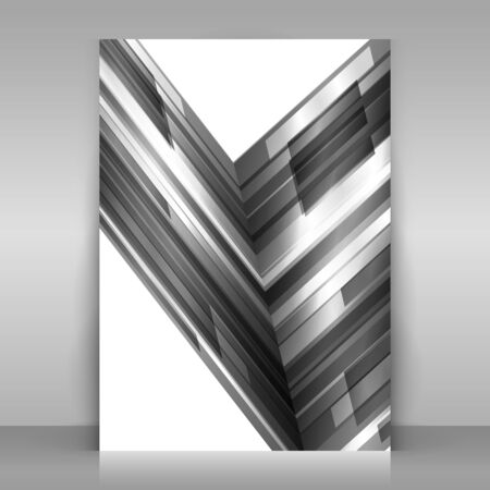 Monochrome flyer design. 1 paper sheet on gray background. Poster with monochrome geometric design. Asymmetrical abstraction. Vector template. Çizim