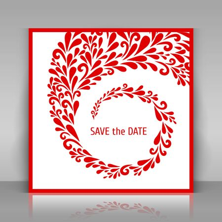 Save the date card with floral decoration. White square paper card on gray background.  Vector floral decoration made from swirl shapes. Greeting, invitation card. Vector template.