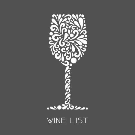 와인 잔. 소용돌이 모양으로 만든 벡터 꽃 기호입니다. 간단한 장식 흰색과 메뉴 회색 그림, 간판입니다.