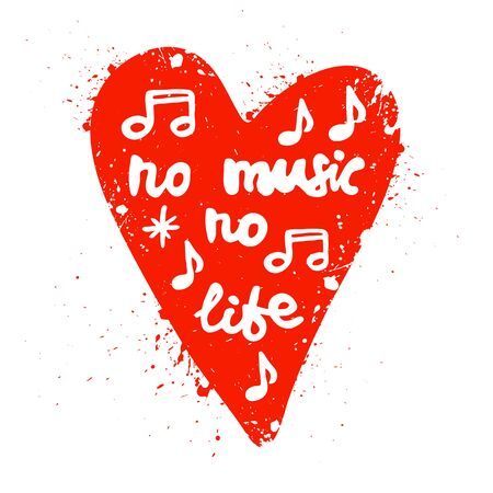 Lettering in heart No music no life. T-shirt print. Hand drawn lettering. Card, poster design. Brush calligraphy vector illustration.