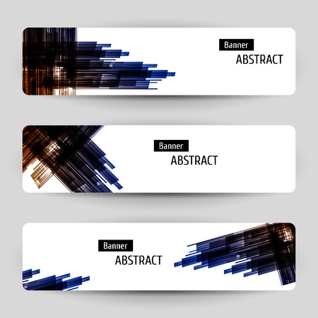 Banner set with abstract technology design. Geometric elements. Vector temlpate.