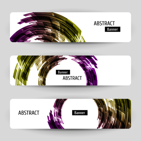 Banner set with abstract technology design. Contrast geometric elements. Motion background. Vector temlpate. Çizim