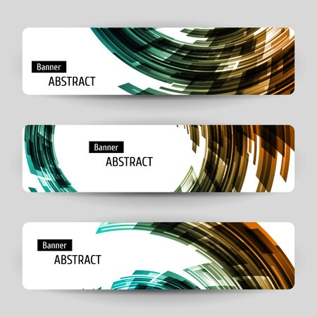 Banner set with abstract technology design. 3 white paper banners on gray background. Contrast geometric elements. Vector temlpate.