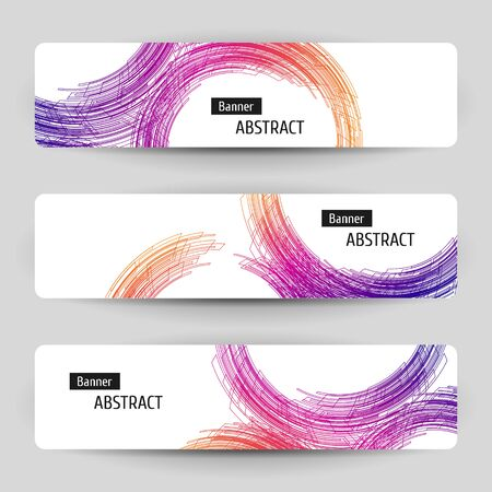 Banner set with abstract linear design. For technology, business, party design. Geometric linear elements