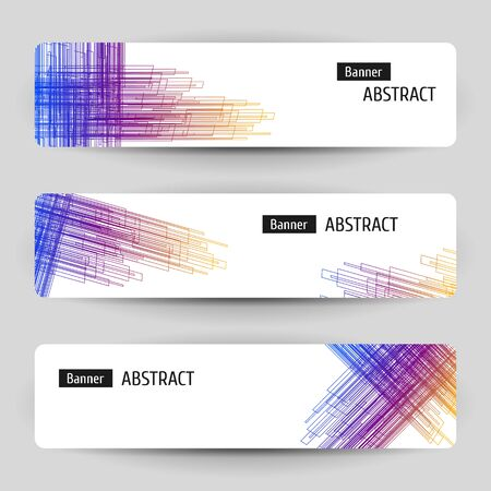 Banner set with abstract linear design. For technology, business, event design. Geometric hatching elements. Çizim