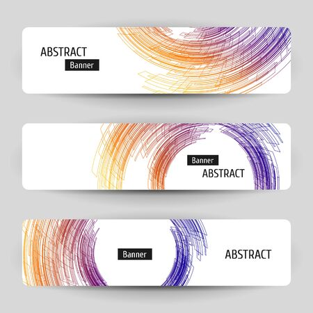 Banner set with abstract technology design. 3 white paper banners on gray background. Linear geometric elements.