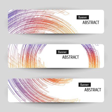 배너 추상 기술 디자인 설정합니다. 회색 배경에 3 흰색 용지 배너. 기하학적 선형 요소입니다.