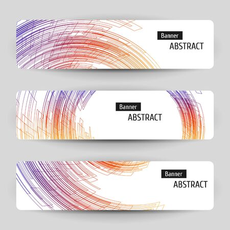 Banner set with abstract technology design. 3 white paper banners on gray background. Geometric linear elements.