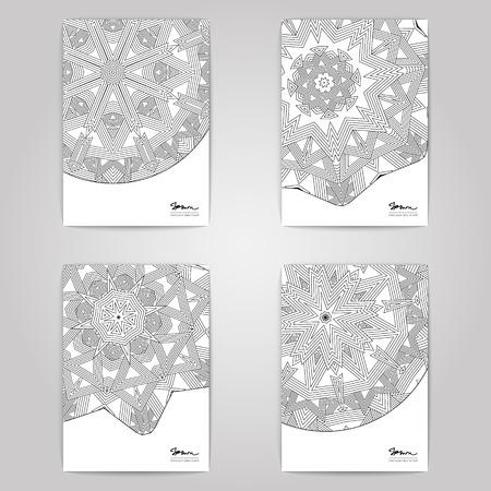 선형 장식 디자인 설정합니다. 회색 배경에 4 종이 포스터.