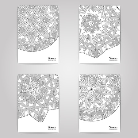 set with linear ornament design. 4 paper posters on gray background.