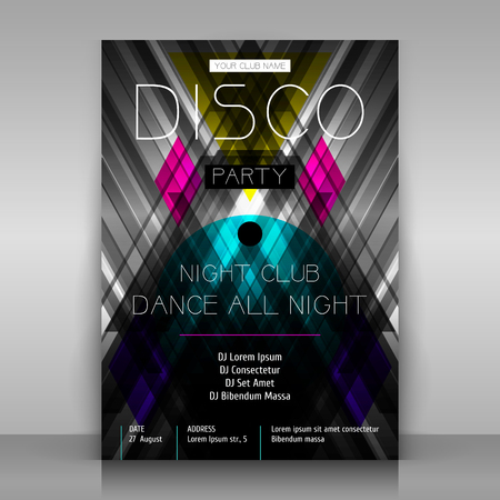 Party poster. Symmetrical monochrome abstraction with colorful geometric shapes.