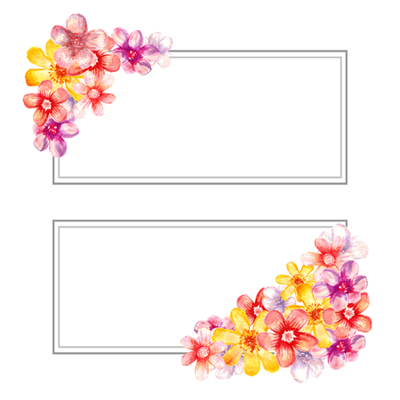 Banners with watercolor flowers. Artistic decoration.