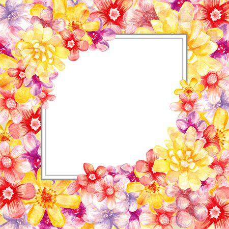 수채화 꽃 프레임입니다. 예술 카드. 배너 그림. 스톡 콘텐츠