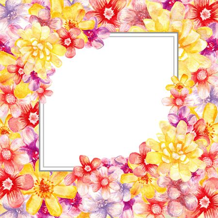 Watercolor floral frame. Artistic card. Painting banner.