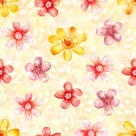수채화 꽃 원활한 패턴입니다. 예술적 배경입니다. 빨간색과 노란색 꽃.