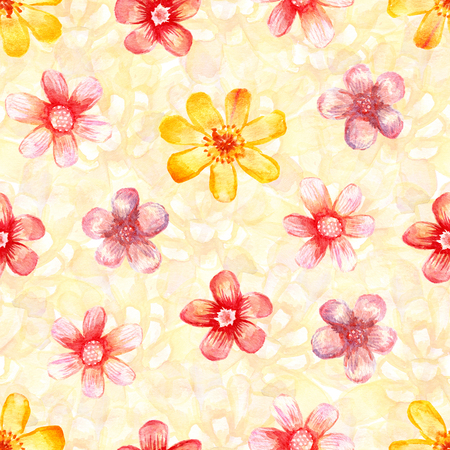 Watercolor floral seamless pattern. Artistic background. Red and yellow flowers.