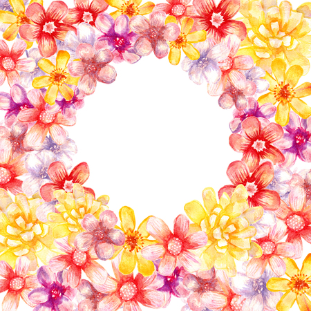 Round watercolor floral frame. Artistic vignette. Stock Photo