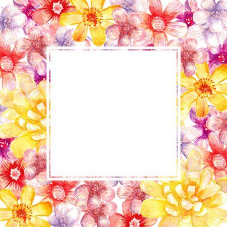 광장 수채화 꽃 프레임입니다. 예술 림.