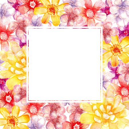 Square watercolor floral frame. Artistic vignette.