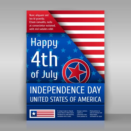 Independence day poster. Happy 4th of July. Paper sheet on gray background.