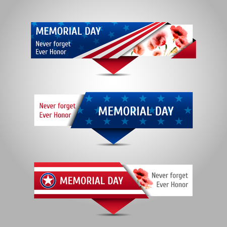 Memorial day banners with watercolor poppies. Never forget, ever honor.