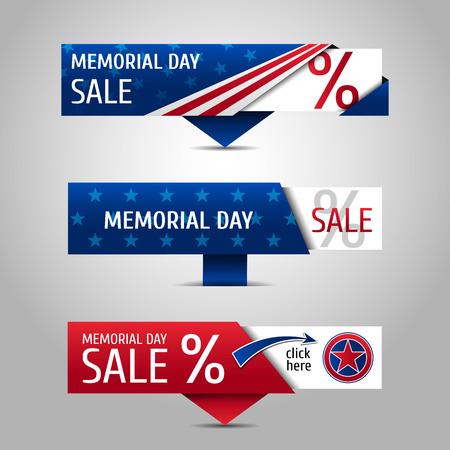 Memorial day sale banners Stock Illustratie