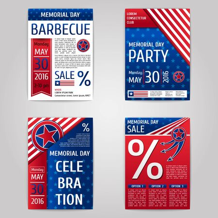 Memorial day set. Red and blue posters Illustration