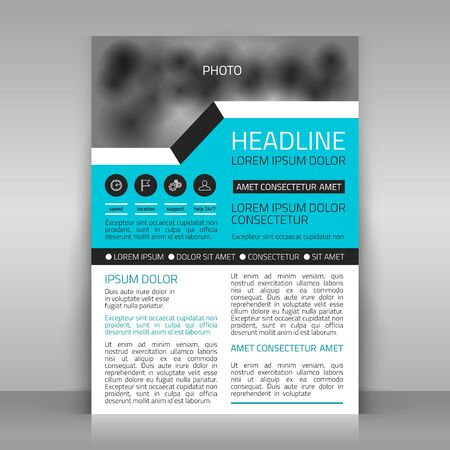 Business template. Paper sheet on gray background. template for advertising poster. Blue, white and gray design. Including space for photo, illustration. Çizim