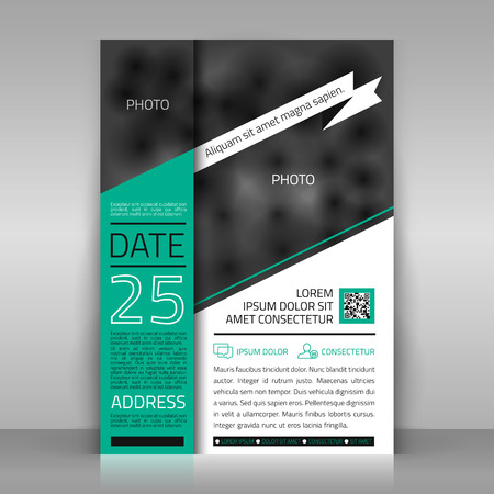 Business template with white ribbon. Paper sheet on gray background. Poster, invitation, letter design. Place for pictures included.
