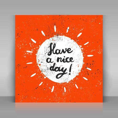 좋은 하루 카드가 있습니다. 손 서예를 그려. 문자 그런 지 태양입니다.