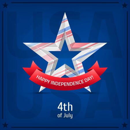 Happy Independence Day, 4th of July. White star with red ribbon on blue background.