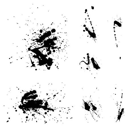 Blots set. Black ink on white background. Çizim