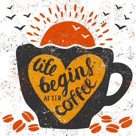 """손으로 쓴 글씨와 그림 : """"인생은 커피 한 후 시작합니다"""". 그런 컵, 심장, 커피 콩, 태양 및 조류."""