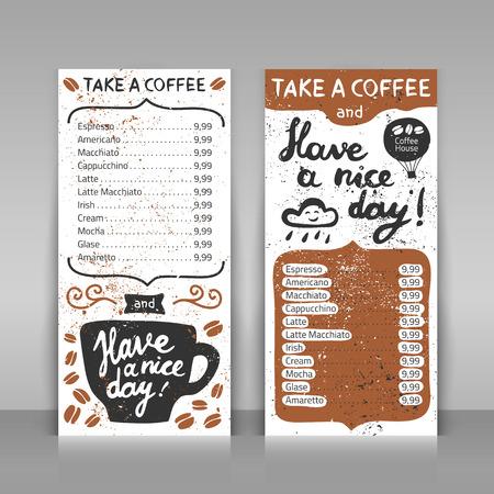 커피 메뉴 설정합니다. 회색 배경에 2 종이 카드. 손 레터링 디자인을 그려. 커피를 가지고 좋은 하루 되세요!