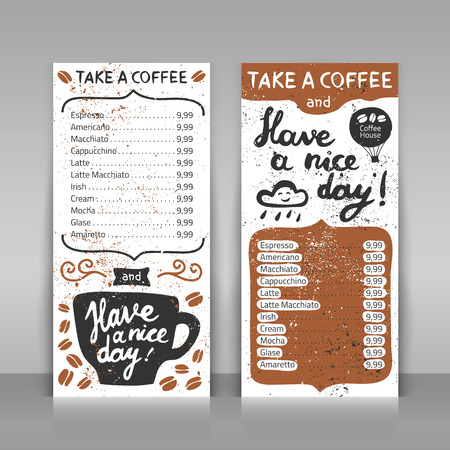 Coffee menu set. 2 paper cards on gray background. Hand drawn design with lettering. Take a coffee and have a nice day!