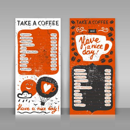 커피 메뉴 설정합니다. 회색 배경에 2 종이 카드. 글자 손으로 그린 그런 지 그림. 커피를 가지고 좋은 하루 되세요!