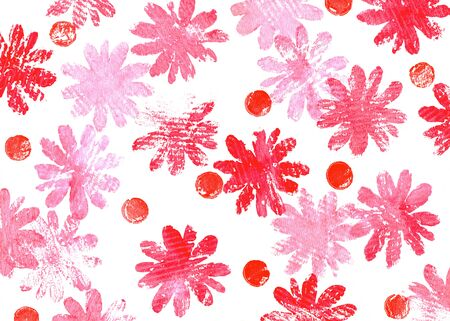 Background with grunge red flowers. Hand painted illustration.
