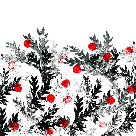 Red berries on the black branches. Floral background.