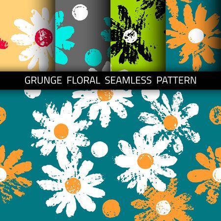 그런 지 꽃 배경입니다. 원활한 패턴입니다. 4 색 옵션이 포함되어 있습니다. 일러스트