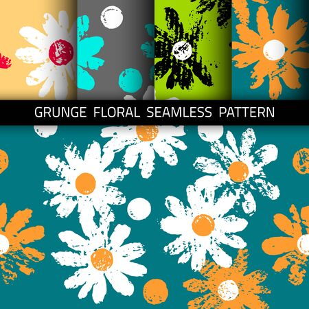 Background with grunge flowers. Seamless pattern. 4 color options included.