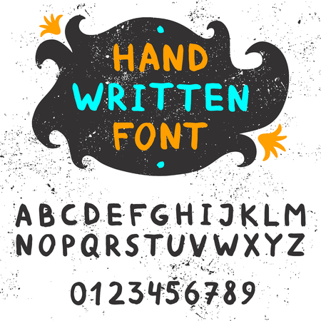 Handwritten font. Authentic ink alfabet and numbers. For titles, headings. Vector illustration.